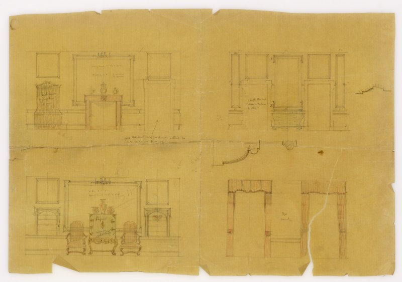 Interior elevations including details of furniture and windows. Additions and alterations for R F McEwen.