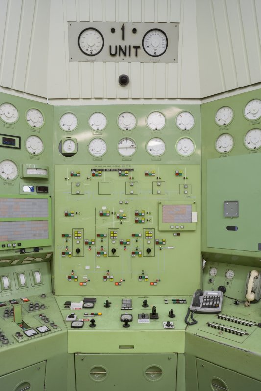 Interior. Detail of monitoring panel for unit 1.