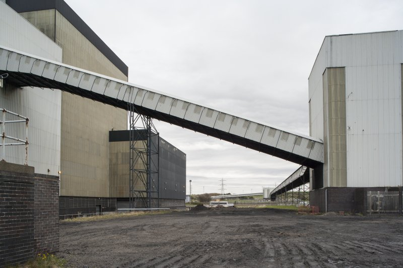 General view from North West of coal conveyor system showing tower 4 and tower 3 in distance.