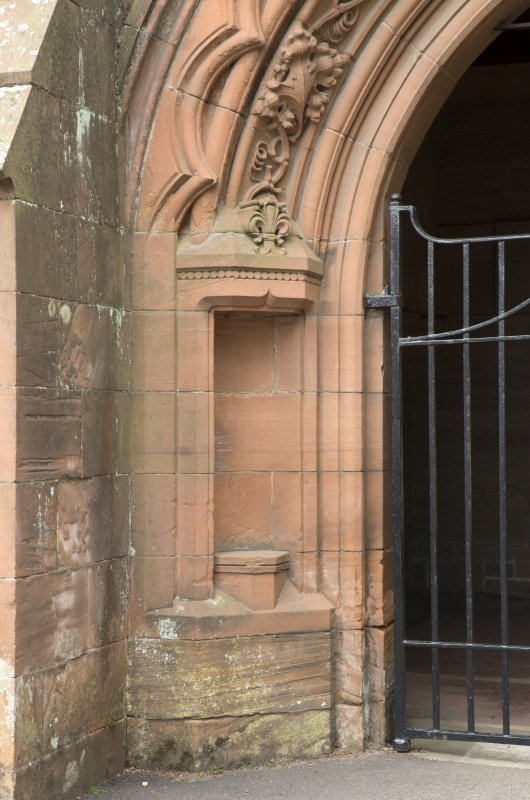 Detail of empty niche at side of main entrance