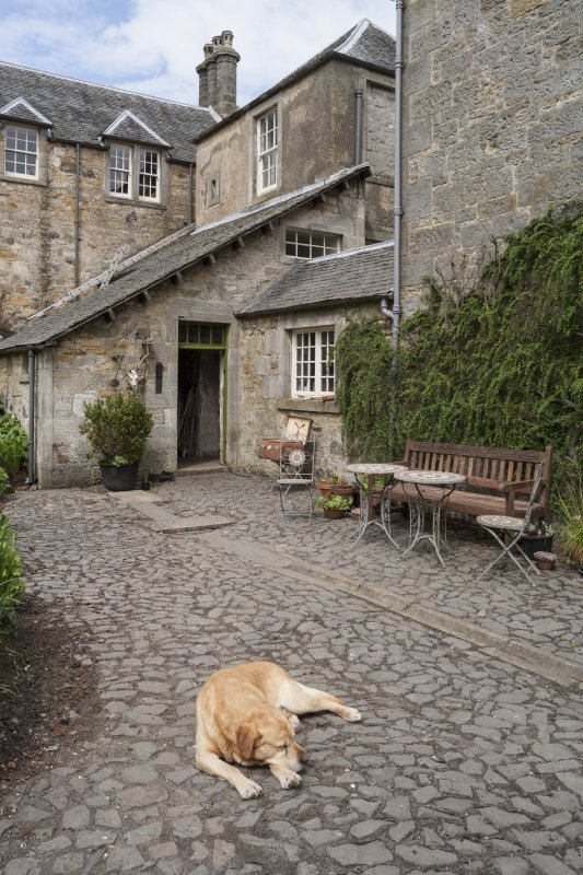 General view of main courtyard entrance and porch with dog.