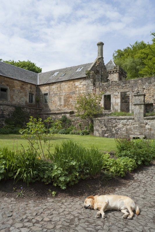 General view of courtyard from South East with dog.