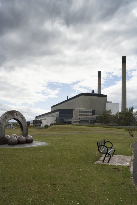 View of Power Station from North East showing sculpture feature in foreground.