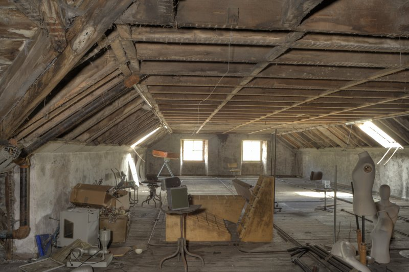 Interior. High Mill. Attic. General view of north range, dating from early 19th century. The panelling has been removed to expose the roof timbers of the open truss roof structure. Only two of the ori ...