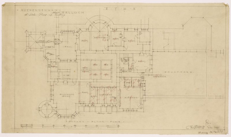 Auchendennan Castle, S.Y.H.A. Ground floor plan as existing.
