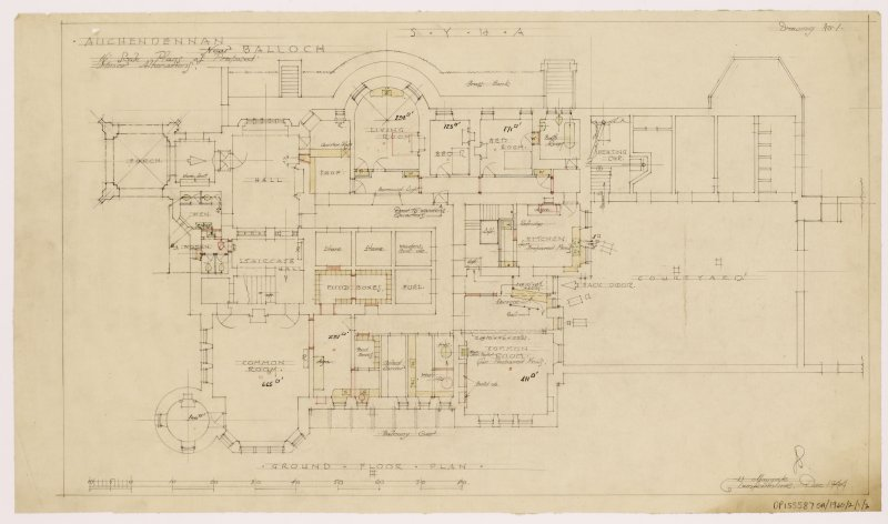 Auchendennan Castle, S.Y.H.A. Ground floor plan showing alterations.