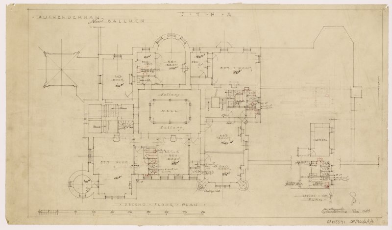 Auchendennan Castle, S.Y.H.A. Second floor plan.