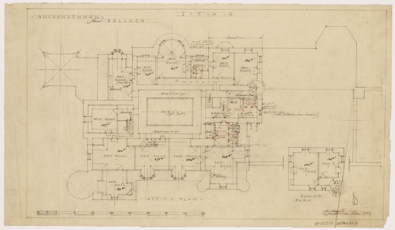 Auchendennan Castle, S.Y.H.A. Attic and tower plan.