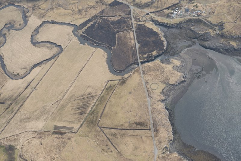 Oblique aerial view of the fish traps at Pollosgan, looking SSE.