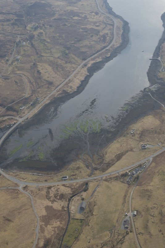Oblique aerial view of the fish traps at Balgown, looking WSW.