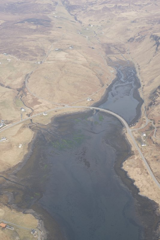 Oblique aerial view of the fish traps at Balgown, looking NE.