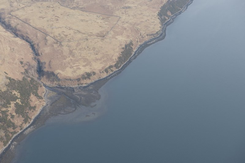 Oblique aerial view of the fish trap at Loch Harport, looking E.