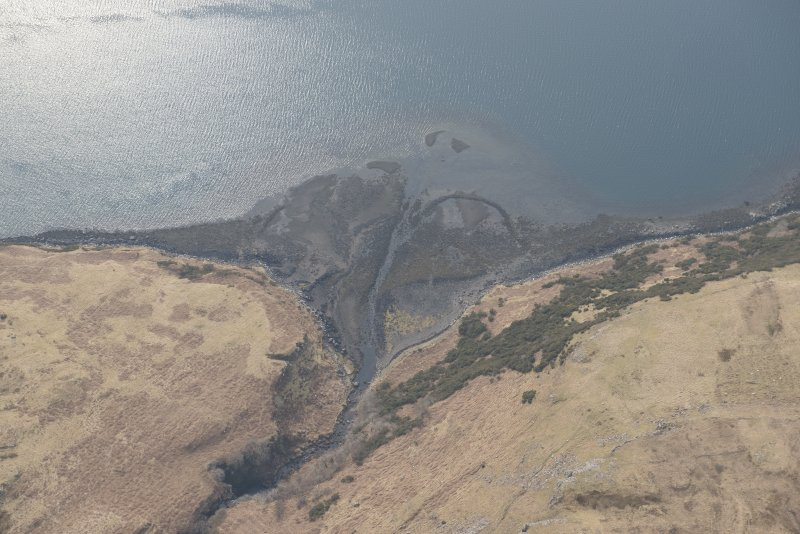 Oblique aerial view of the fish trap at Loch Harport, looking WSW.