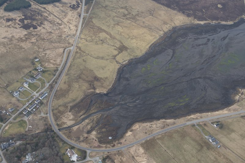 Oblique aerial view of the fish traps at Edinbane, looking NW.