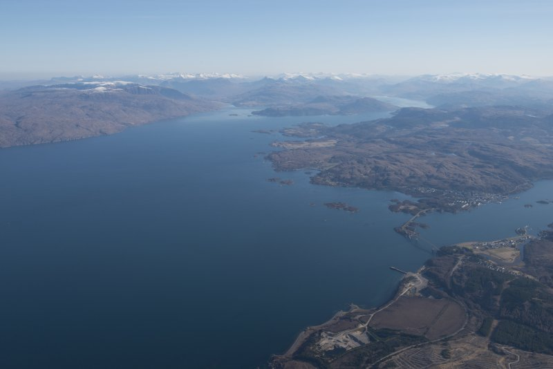 General oblique aerial view of Loch Alsh with Plockton and Loch Carron in the middle distance, looking ENE.