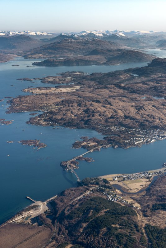 General oblique aerial view of Loch Alsh and the Skye Bridge with Plockton and Loch Carron beyond, looking ENE.