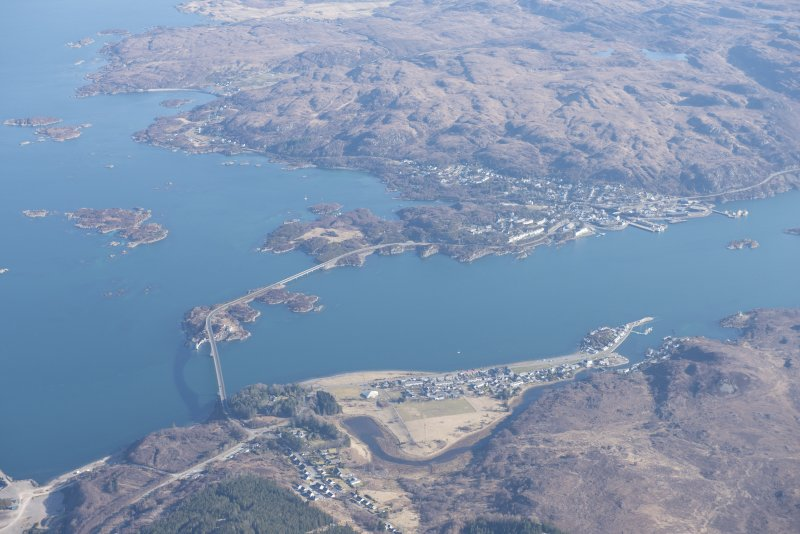General oblique aerial view of Loch Alsh and the Skye Bridge, looking ENE.