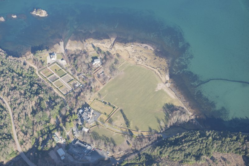 Oblique aerial view of Loch Torridon Hotel, looking NNW.