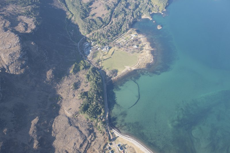 Oblique aerial view of the fish trap and Loch Torridon Hotel, looking WSW.