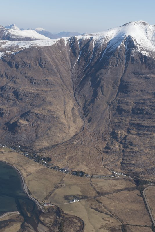 Oblique aerial view of Torridon and Liathach, looking NNE.