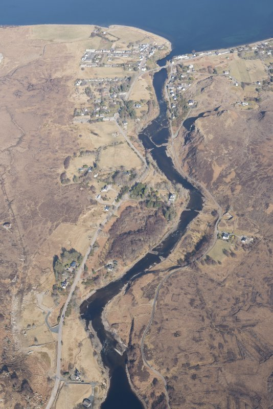 Oblique aerial view of the weirs along the River Ewe, looking NNW.