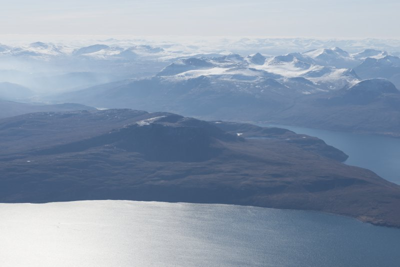 General oblique aerial view og Beinn Ghobhlach with Little Loch Broom beyond, looking SSW.