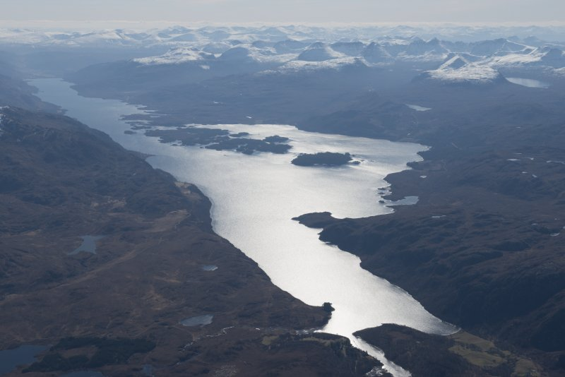 General oblique aerial view of Loch Maree, looking SSE.
