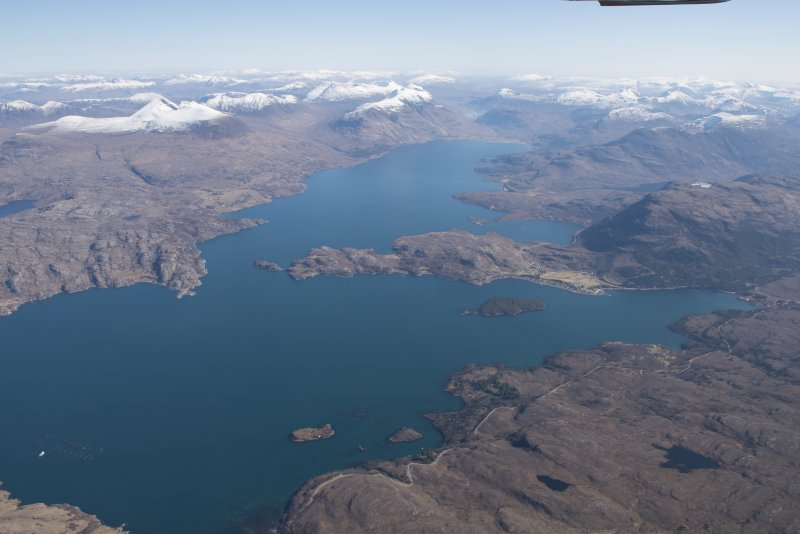 General oblique aerial view of Loch Shieldaig and Upper Loch Torridon, looking E.