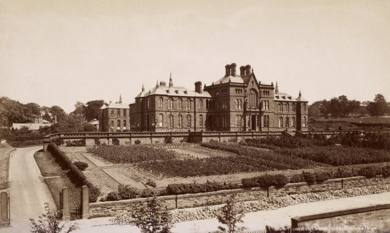 Historic photograph. General view of Dumfries Royal Infirmary.