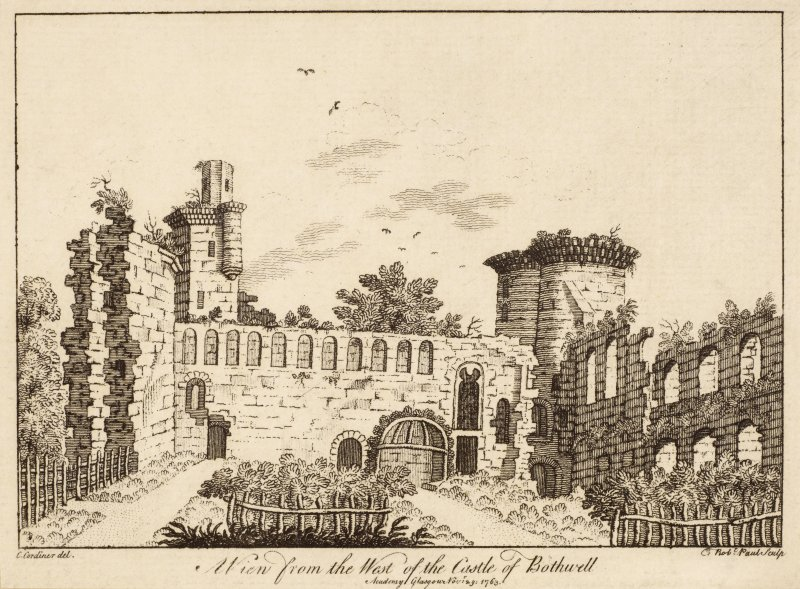Copy of engraved view of the ruined Borthwick Castle from west.