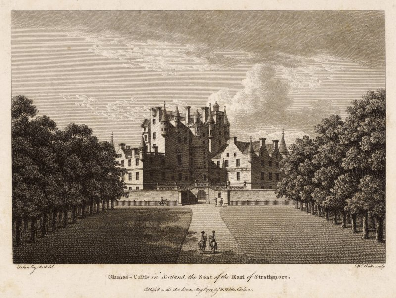 Engraved view of Glamis Castle showing avenue and courtyard walls.
