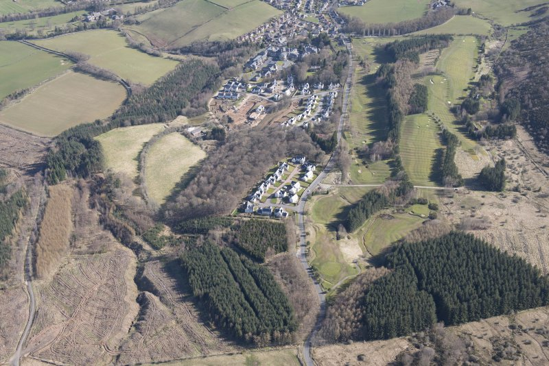 Oblique aerial view of Dingleton, Melrose, looking NNE.