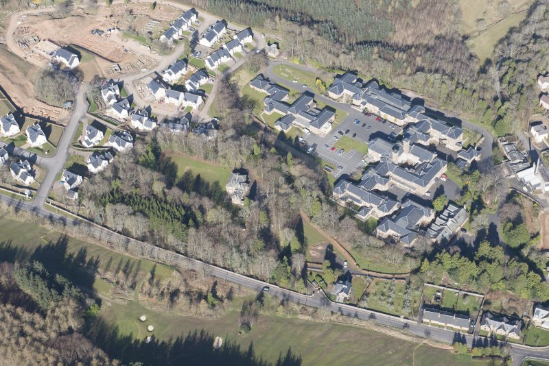 Oblique aerial view of Dingleton, Melrose, looking W.