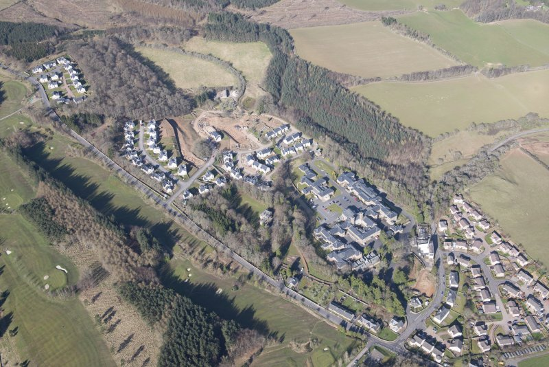 Oblique aerial view of Dingleton, Melrose, looking WSW.