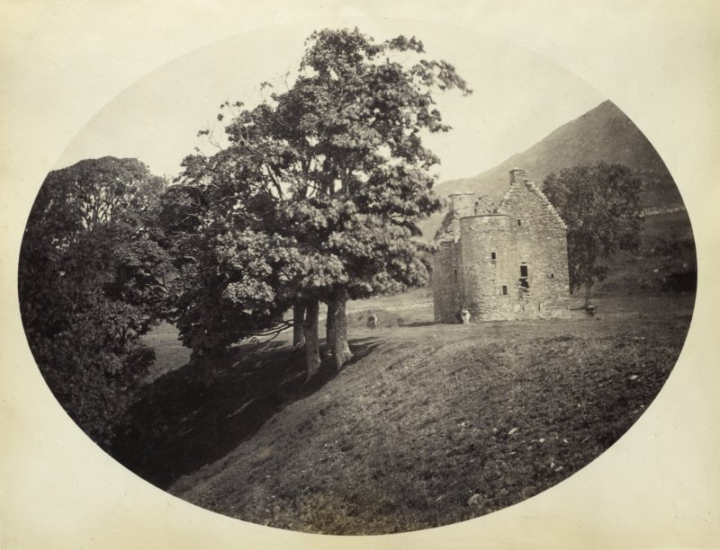 View of Kilmartin Castle ruined tower house, wide view, with surrounding gardens at Kilmartin, Argyll and Bute. Titled: '171. Kilmartin Castle, Argyll.' PHOTOGRAPH ALBUM NO 186: J B MACKENZIE ALBUMS vol.1