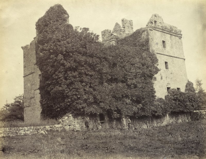 View of Carnasserie Castle, a ruined tower house, at Kilmartin, Argyll and Bute. Titled: '183. Carnassary Castle, Kilmartin Argyll.' PHOTOGRAPH ALBUM NO 186: J B MACKENZIE ALBUMS vol.1