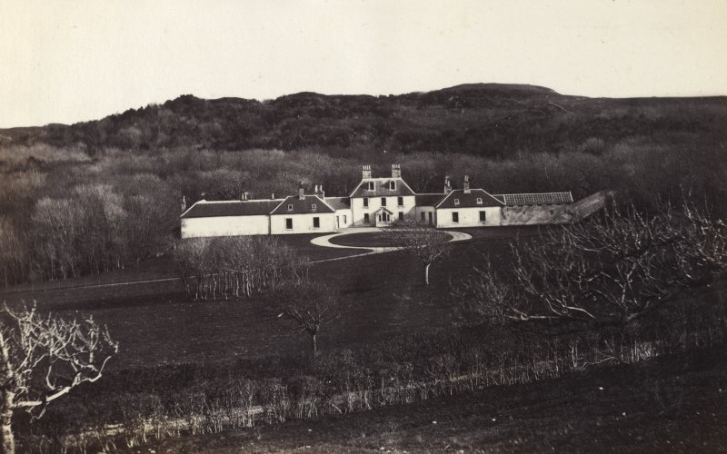 View of wide landscape surrounding Colonsay House at Colonsay. Titled: '36. Kiloran House, Colonsay.' PHOTOGRAPH ALBUM NO 186: J B MACKENZIE ALBUMS vol.1