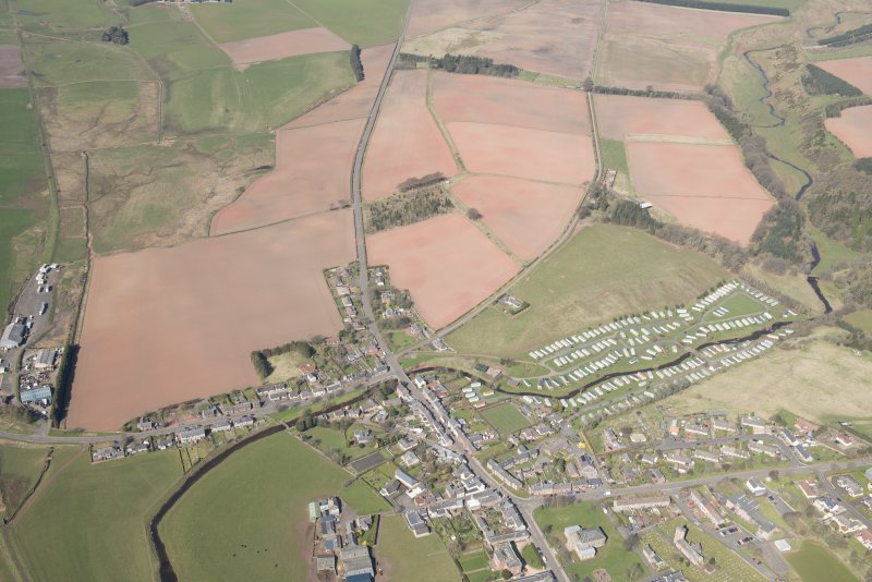 Oblique aerial view of Greenlaw, looking WNW.