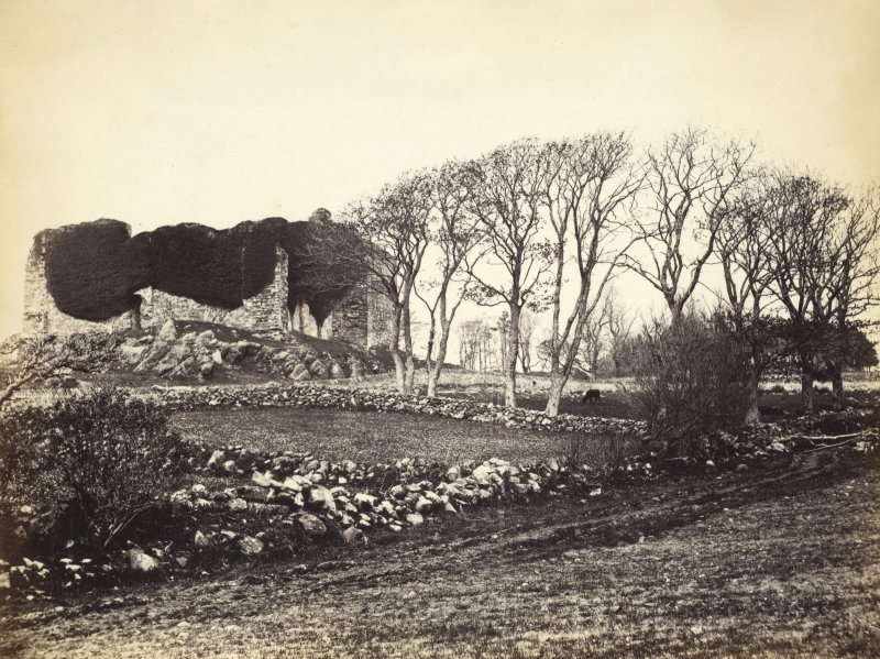 View of Castle Sween and surroundings at North Knapdale. Described by J. B. Mackenzie as 'Lwyn Castle.' Titled: '90. Castle Lwyn. Knapdale.' PHOTOGRAPH ALBUM NO 186: J B MACKENZIE ALBUMS vol.1