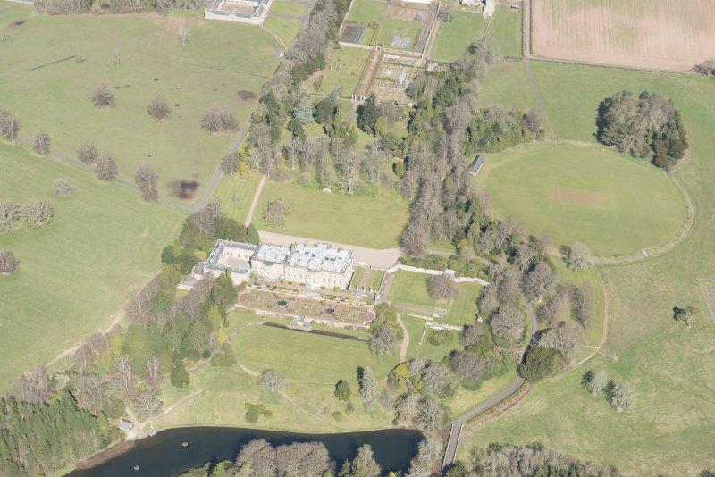 Oblique aerial view of Manderston House, looking NW.
