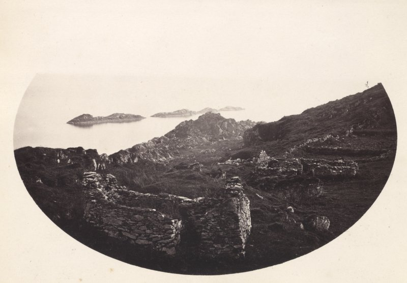 View, wide-angle, of ruins and surroundings at Eileach An Naoimh, Argyll.  Titled: '45. General View of ruins on Ealan Naomh.' PHOTOGRAPH ALBUM, NO 186: J B MACKENZIE ALBUMS vol.1