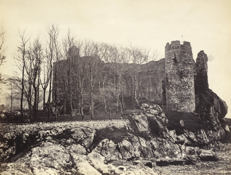 View of Castle Sween and surroundings at North Knapdale. Described by J. B. Mackenzie as 'Lwyn Castle.' Titled: '92. Castle Lwyn.' PHOTOGRAPH ALBUM NO 186: J B MACKENZIE ALBUMS vol.1