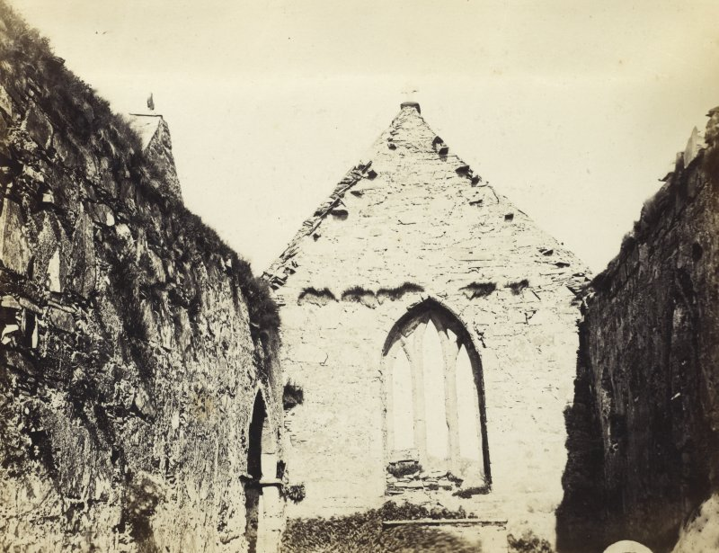 View of interior of Oransay Priory Church looking Eastwards, Oronsay. Titled: '17. Interior of Priory Church at Oransay, looking to the East.' PHOTOGRAPH ALBUM NO 186: J B MACKENZIE ALBUMS vol.1
