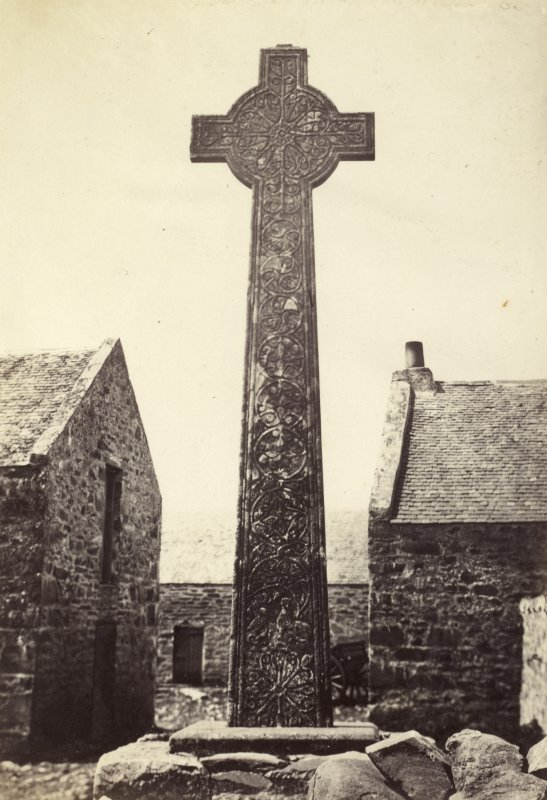 View of East Side of high cross slab, known as 'Great Cross', at Oronsay Priory Church ruins, Oronsay. Titled: '54. Cross at Oronsay. East Side.' PHOTOGRAPH ALBUM NO 186: J B MACKENZIE ALBUMS vol.1