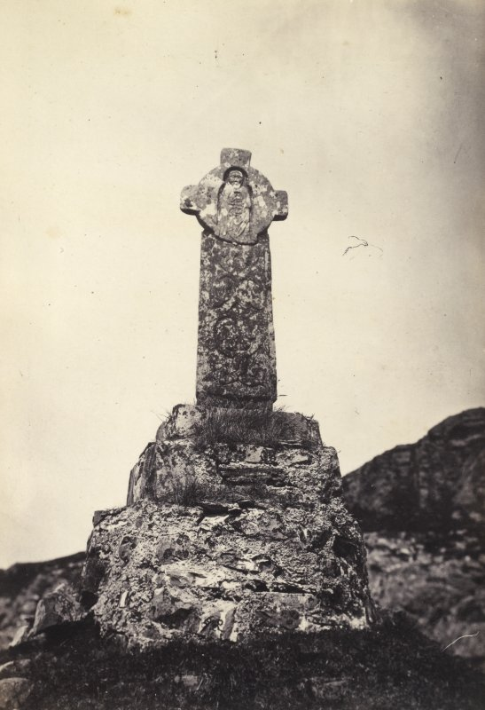 View of smaller cross at Oronsay Priory Church ruins, Oronsay. Titled: '56. Small broken Cross at Oronsay.' PHOTOGRAPH ALBUM NO 186: J B MACKENZIE ALBUMS vol.1