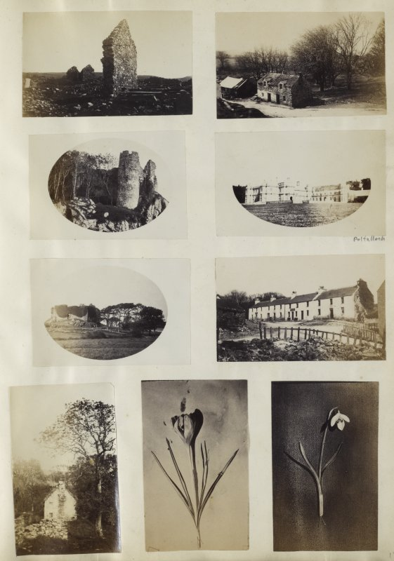 View of nine small photographs variously identified. The top two images are both unidentified and are an image of a ruined building, left, and a small cottage or farm, right.  The upper-central two images are both identified. The left image is of the ruins of Castle Sween and the surrounding cliff face in North Knapdale. The right image is of the back and gardens of Poltalloch country house, Kilmartin.  The lower-central two images and variously identified. The left image is again a wider view of the ruins of Castle Sween and landscape surroundings in North Knapdale. The right image is an unidentified building, possible a lodge.  The lower three images are unidentified. The left image is of the side of a cottage and the central and right image are portraits of flowers.  PHOTOGRAPH ALBUM No. 187, (cf PAs 186 and 188) Rev. J.B. MacKenzie of Colonsay Albums,1870, vol.2.