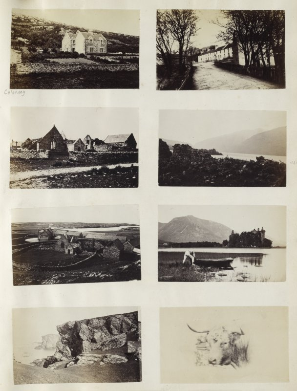 View of eight small photographs variously identified. The top two images are variously identified. The left image is a wide view of a cottage, specific location is unknown, on Colonsay Argyll. The right image is of an entrance to an unknown long building.   The upper-central two images are both identified. The left image is a wide-angle view of the ruins of Oronsay priory, Oronsay, Argyll. The right image is a wide-angle view of the ruins of Inishail Old Parish Church and the surrounding Loch Awe, Argyll.  The lower-central two images are both identified. The left image is a 'birds-eye' view of Oronsay Priory ruins, Oronsay, Argyll. The right image is a wide-view of Kilchurn Castle and the surrounding Loch Awe, Argyll. There is additionally a male figure pushing a boat onto the loch in the foreground.  The lower two images are unidentified. The left image is of a rock formation, probably in Colonsay, and the right image is a view of the head of a bull, again probably Colonsay.  PHOTOGRAPH ALBUM No. 187, (cf PAs 186 and 188) Rev. J.B. MacKenzie of Colonsay Albums,1870, vol.2.