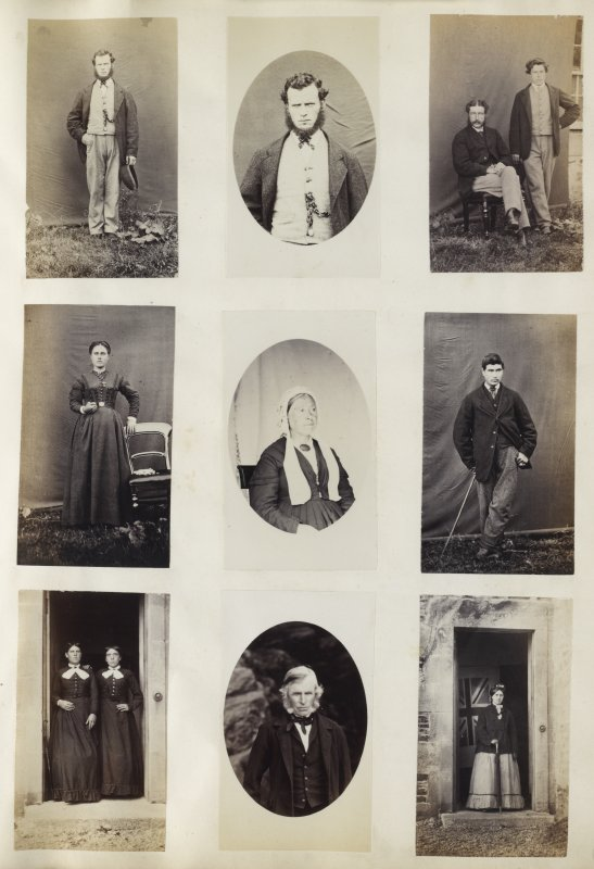 View of nine photographic portraits from unknown locations, though the bottom right image is identified. These photographs are all outdoor portraits, one on location and eight using a background; three are of standing female figures, two are of male standing figures, two are isolated busts of female figures, one is of a standing female figure and child, and the bottom right image is of a female figure stood to the left of the 'Oronsay Cross', Oronsay Priory Ruins, Oronsay, Argyll. PHOTOGRAPH ALBUM No. 187, (cf PAs 186 and 188) Rev. J.B. MacKenzie of Colonsay Albums,1870, vol.2.