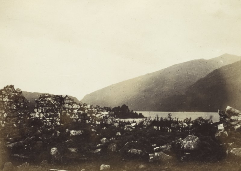 View, wide-angle, of the ruins of old Inishail Parish Church, including Loch Awe in the background, Lorn, Argyll.  Titled: '2. Inishail'. PHOTOGRAPH ALBUM No. 187, (cf PAs 186 and 188) Rev. J.B. MacKenzie of Colonsay Albums,1870, vol.2.
