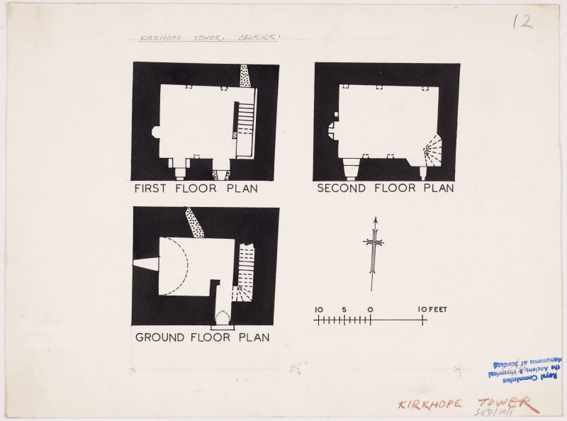 Publication plan of ground, first and second floors, Kirkhope Tower.